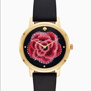metro embroidered flower black leather watch